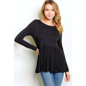 Black Super Soft Jersey Knit Peplum Open Back Top